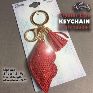 Crystal Lips Keychain with Tassel